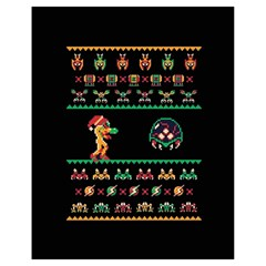 We Wish You A Metroid Christmas Ugly Holiday Christmas Black Background Drawstring Bag (small) by Onesevenart