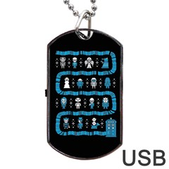 Who Is Outside Ugly Holiday Christmas Black Background Dog Tag Usb Flash (one Side) by Onesevenart