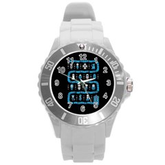 Who Is Outside Ugly Holiday Christmas Black Background Round Plastic Sport Watch (l) by Onesevenart