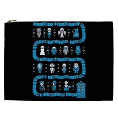 Who Is Outside Ugly Holiday Christmas Black Background Cosmetic Bag (xxl)  by Onesevenart