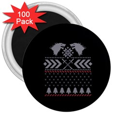 Winter Is Coming Game Of Thrones Ugly Christmas Black Background 3  Magnets (100 Pack) by Onesevenart