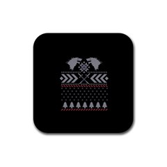 Winter Is Coming Game Of Thrones Ugly Christmas Black Background Rubber Coaster (square)  by Onesevenart