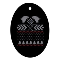 Winter Is Coming Game Of Thrones Ugly Christmas Black Background Oval Ornament (two Sides) by Onesevenart