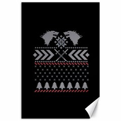 Winter Is Coming Game Of Thrones Ugly Christmas Black Background Canvas 24  X 36  by Onesevenart