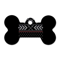 Winter Is Coming Game Of Thrones Ugly Christmas Black Background Dog Tag Bone (two Sides) by Onesevenart