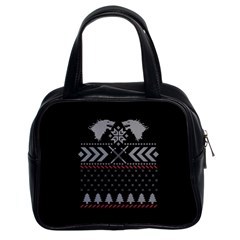 Winter Is Coming Game Of Thrones Ugly Christmas Black Background Classic Handbags (2 Sides) by Onesevenart
