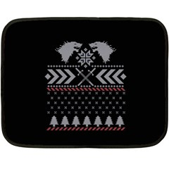 Winter Is Coming Game Of Thrones Ugly Christmas Black Background Fleece Blanket (mini) by Onesevenart