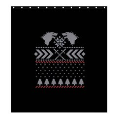 Winter Is Coming Game Of Thrones Ugly Christmas Black Background Shower Curtain 66  X 72  (large)  by Onesevenart