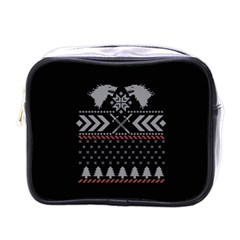 Winter Is Coming Game Of Thrones Ugly Christmas Black Background Mini Toiletries Bags by Onesevenart