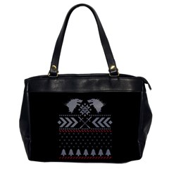 Winter Is Coming Game Of Thrones Ugly Christmas Black Background Office Handbags by Onesevenart