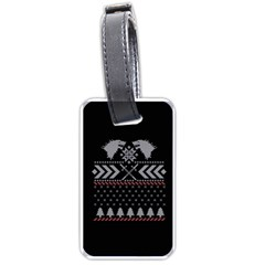 Winter Is Coming Game Of Thrones Ugly Christmas Black Background Luggage Tags (two Sides) by Onesevenart