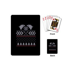 Winter Is Coming Game Of Thrones Ugly Christmas Black Background Playing Cards (mini)  by Onesevenart