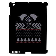 Winter Is Coming Game Of Thrones Ugly Christmas Black Background Apple Ipad 3/4 Hardshell Case (compatible With Smart Cover) by Onesevenart