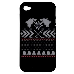 Winter Is Coming Game Of Thrones Ugly Christmas Black Background Apple Iphone 4/4s Hardshell Case (pc+silicone) by Onesevenart