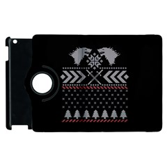 Winter Is Coming Game Of Thrones Ugly Christmas Black Background Apple Ipad 3/4 Flip 360 Case by Onesevenart