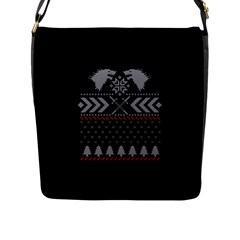 Winter Is Coming Game Of Thrones Ugly Christmas Black Background Flap Messenger Bag (l)  by Onesevenart