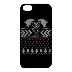 Winter Is Coming Game Of Thrones Ugly Christmas Black Background Apple Iphone 5c Hardshell Case by Onesevenart