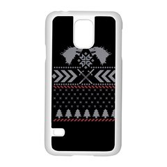 Winter Is Coming Game Of Thrones Ugly Christmas Black Background Samsung Galaxy S5 Case (white) by Onesevenart