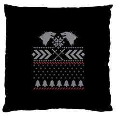 Winter Is Coming Game Of Thrones Ugly Christmas Black Background Large Flano Cushion Case (one Side) by Onesevenart
