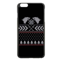 Winter Is Coming Game Of Thrones Ugly Christmas Black Background Apple Iphone 6 Plus/6s Plus Black Enamel Case by Onesevenart