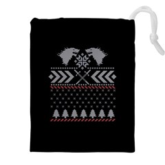Winter Is Coming Game Of Thrones Ugly Christmas Black Background Drawstring Pouches (xxl) by Onesevenart