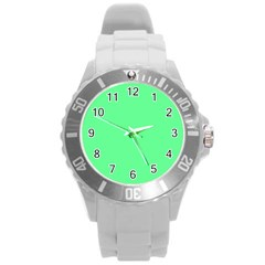 Neon Color   Light Brilliant Malachite Green Round Plastic Sport Watch (l) by tarastyle