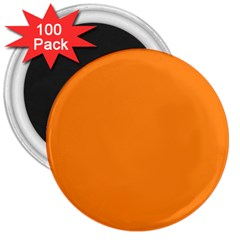 Neon Color   Light Brilliant Orange 3  Magnets (100 Pack) by tarastyle