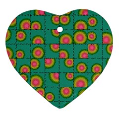 Tiled Circular Gradients Heart Ornament (two Sides) by linceazul