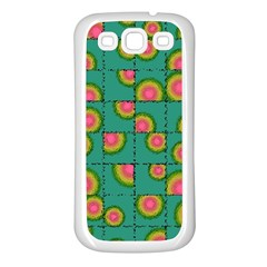 Tiled Circular Gradients Samsung Galaxy S3 Back Case (white) by linceazul
