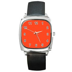 Neon Color   Light Brilliant Scarlet Square Metal Watch by tarastyle