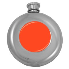 Neon Color   Light Brilliant Scarlet Round Hip Flask (5 Oz) by tarastyle