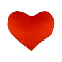 Neon Color   Light Brilliant Scarlet Standard 16  Premium Flano Heart Shape Cushions by tarastyle