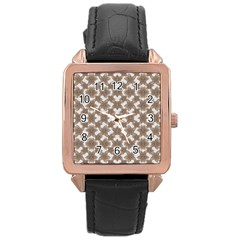 Stylized Leaves Floral Collage Rose Gold Leather Watch  by dflcprints