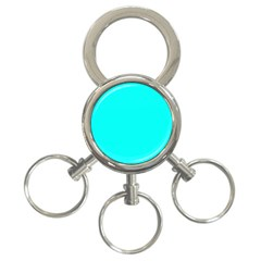 Neon Color   Luminous Vivid Cyan 3 Ring Key Chains by tarastyle