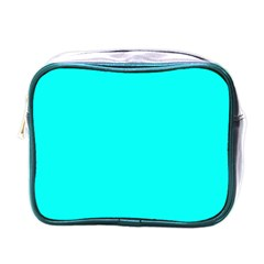 Neon Color   Luminous Vivid Cyan Mini Toiletries Bags by tarastyle