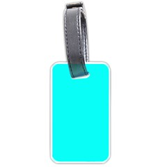 Neon Color   Luminous Vivid Cyan Luggage Tags (one Side)  by tarastyle
