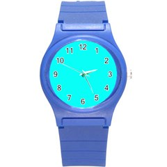 Neon Color   Luminous Vivid Cyan Round Plastic Sport Watch (s) by tarastyle