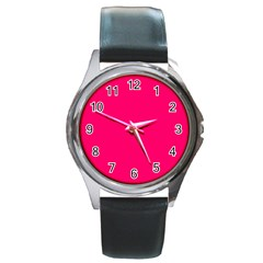 Neon Color - Luminous Vivid Raspberry Round Metal Watch by tarastyle