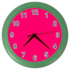 Neon Color   Luminous Vivid Raspberry Color Wall Clocks by tarastyle