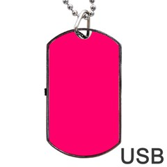 Neon Color   Luminous Vivid Raspberry Dog Tag Usb Flash (one Side) by tarastyle