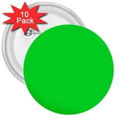 Neon Color   Vivid Malachite Green 3  Buttons (10 Pack)  by tarastyle
