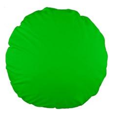 Neon Color   Vivid Malachite Green Large 18  Premium Round Cushions by tarastyle