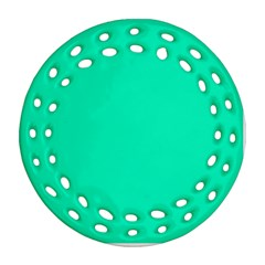 Neon Color   Vivid Turquoise Ornament (round Filigree) by tarastyle