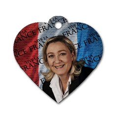 Marine Le Pen Dog Tag Heart (one Side) by Valentinaart