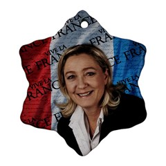 Marine Le Pen Snowflake Ornament (two Sides) by Valentinaart