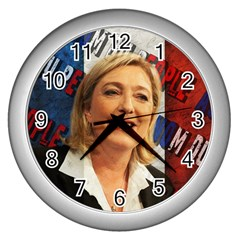 Marine Le Pen Wall Clocks (silver)  by Valentinaart