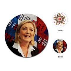 Marine Le Pen Playing Cards (round)  by Valentinaart