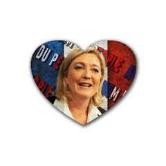 Marine Le Pen Rubber Coaster (heart)  by Valentinaart