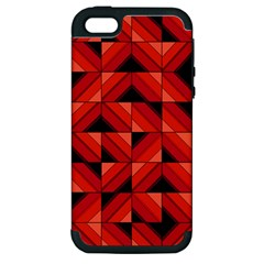 Fake Wood Pattern Apple Iphone 5 Hardshell Case (pc+silicone) by linceazul