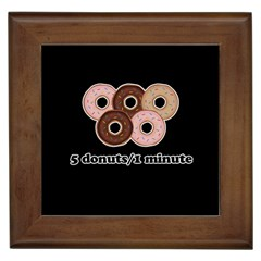 Five Donuts In One Minute  Framed Tiles by Valentinaart